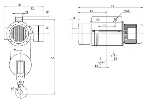 Таль электрическая стационарная типа Т02 (стационарная на пальцах) грузоподъёмностью 0,5 тонн