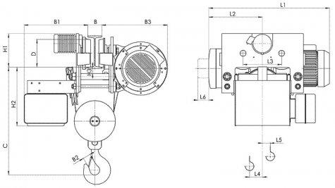 Таль электрическая передвижная типа Т786 грузоподъемностью 10 тонн