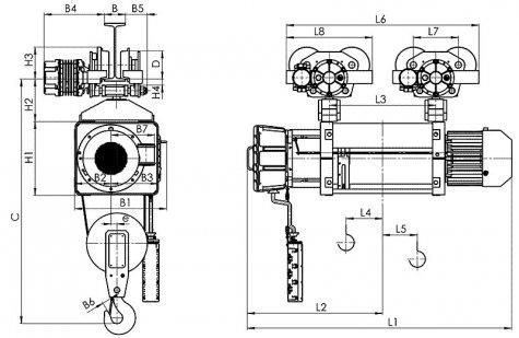 Таль электрическая передвижная типа ВМТ39 взрывобезопасного исполнения (ВБИ), г/п 10 тонн