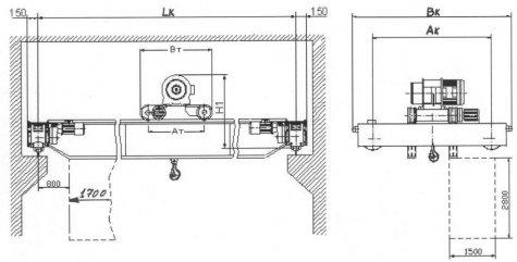 Кран мостовой электрический двухбалочный взрывобезопасного исполнения грузоподъемностью 10 тонн
