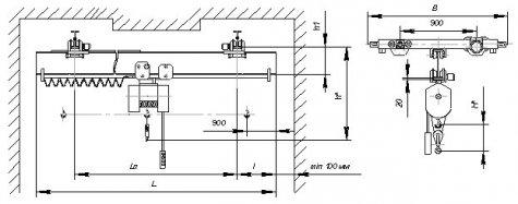 Кран мостовой подвесной однобалочный исполнения ВБИ г/п 5т