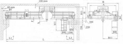 Кран мостовой электрический двухбалочный опорный грузоподъемностью 16т управление с пола