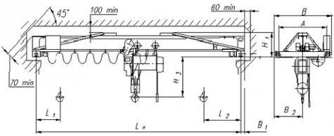 Кран мостовой однобалочный опорный общего назначения г/п 1т