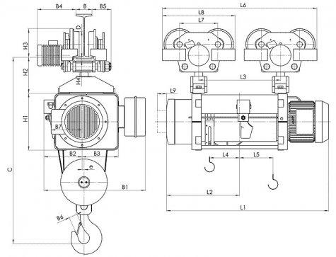 Таль электрическая передвижная типа МТ750 грузоподъемностью 20 тонн