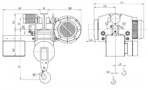 Таль электрическая передвижная с уменьшенной строительной высотой типа Т45 грузоподъемностью 2 тонны