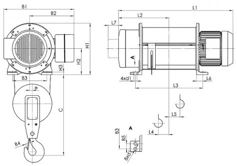 Таль электрическая стационарная типа Т01 (стационарная опорная на лапах) грузоподъемностью 2 тонны