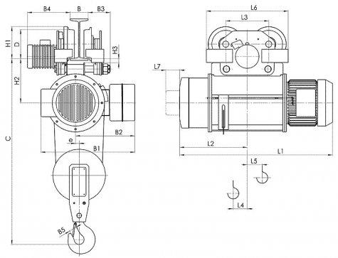Таль электрическая передвижная типа Т10 грузоподъемностью 3,2 тонны