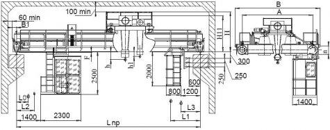 Кран мостовой электрический двухбалочный опорный грузоподъемностью 32т/5т управление из кабины