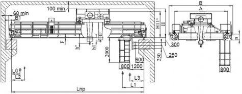 Кран мостовой электрический двухбалочный опорный грузоподъемностью 32т/5т управление с пола
