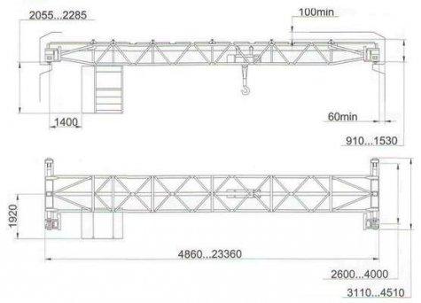 Кран мостовой однобалочный опорный общего назначения, управление из кабины г/п 3,2т, 5т