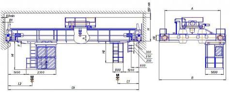 Краны мостовые электрические двухбалочные опорные г/п 50 т, управление из кабины (режим А7)
