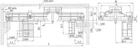 Кран мостовой электрический двухбалочный опорный грузоподъемностью 5т управление из кабины