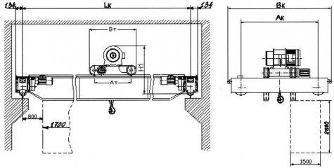 Кран мостовой электрический двухбалочный взрывобезопасного исполнения грузоподъемностью 5 тонн