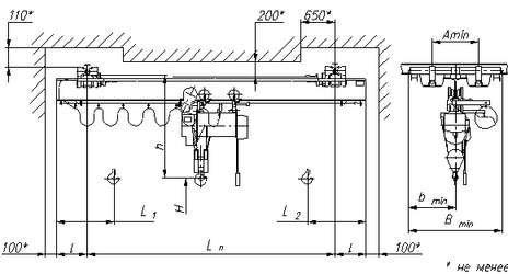 Кран мостовой подвесной однобалочный исполнения ВБИ г/п 1т