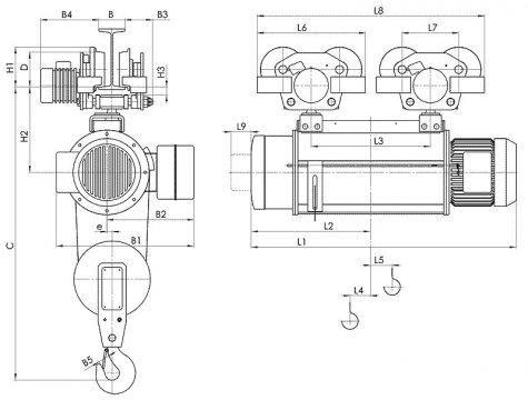 Таль электрическая передвижная типа Т10 грузоподъемностью 8 тонн