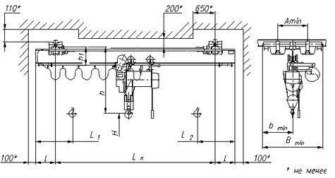 Кран мостовой подвесной однобалочный однопролетный общего назначения г/п 1т