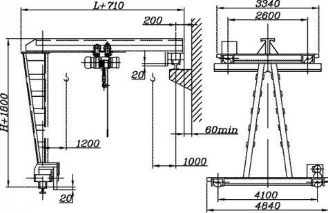Краны полукозловые электрические общего назначения грузоподъёмностью 1; 2; 3,2т, управление с пола.