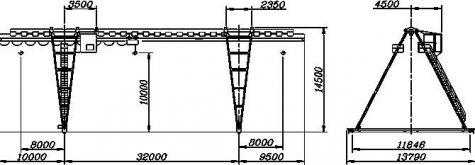 Кран козловой электрический общего назначения пролет 32 метра грузоподъёмностью 12,5 тонн (управление из кабины)