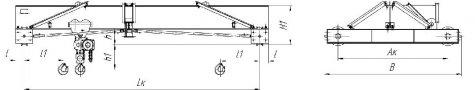 Кран ручной мостовой однобалочный опорный г/п 5т; 8т; 10т, 12,5т.