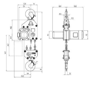 Таль электрическая цепная стационарная CPE, CPV 7.5 т.