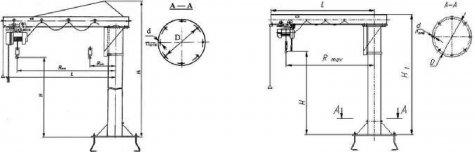 Кран консольный стационарный общепромышленного исполнения с ручным поворотом консоли