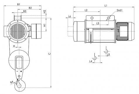 Таль электрическая стационарная типа Т02 на пальцах грузоподъёмностью 0,5 тонн