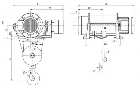 Таль электрическая стационарная типа Т35 (стационарная опорная на лапах) грузоподъёмностью 10 тонн