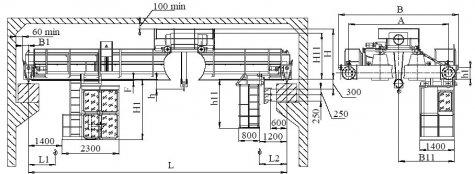 Кран мостовой электрический двухбалочный опорный грузоподъемностью 10т управление из кабины