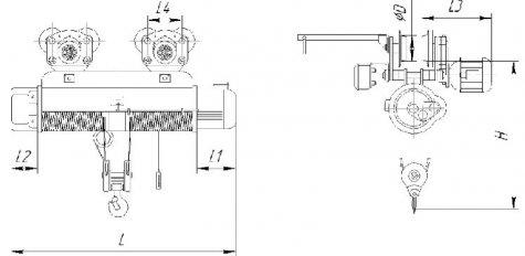 Таль электрическая канатная передвижная общего назначения г/п 10т
