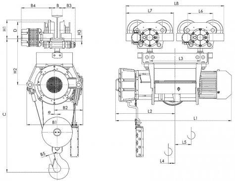Таль электрическая передвижная типа ВТ39 взрывобезопасного исполнения (ВБИ), г/п 10 тонн