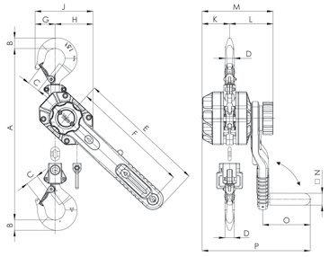 YaleERGO360 – рычажная таль, г/п 750 – 3000 кг