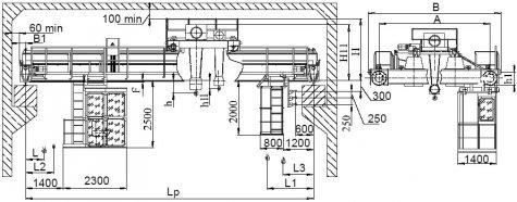 Кран мостовой электрический двухбалочный опорный грузоподъемностью 20/5 т управление из кабины