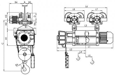 Таль электрическая передвижная типа ВМТ10, передвигаемая двумя тележками Взрывобезопасного исполнения, полиспаст 4/1, 20 тонн