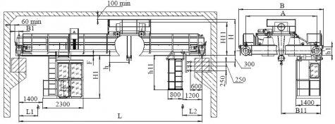 Кран мостовой электрический двухбалочный опорный грузоподъемностью 20т управление из кабины