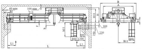 Кран мостовой электрический двухбалочный опорный грузоподъемностью 20т управление с пола