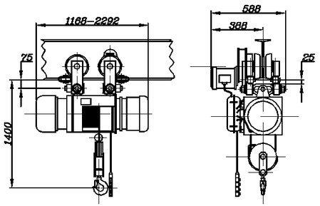 Таль электрическая канатная стационарная общего назначения г/п 3,2т