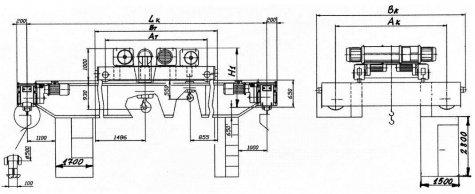 Кран мостовой электрический двухбалочный взрывобезопасного исполнения грузоподъемностью 32т; 32/5т