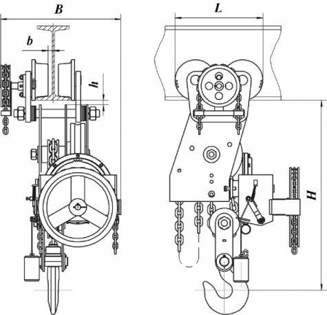 Таль ручная червячная передвижная двухскоростная г/п 5,0т и 8,0 т.