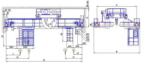 Краны мостовые электрические двухбалочные опорные г/п 50/10 т, управление из кабины (режим А7)