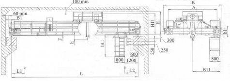 Кран мостовой электрический двухбалочный опорный грузоподъемностью 5т управление с пола