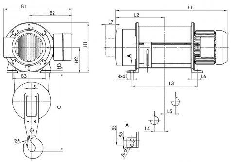Таль электрическая стационарная типа Т01 (стационарная опорная на лапах) грузоподъемностью 5 тонн