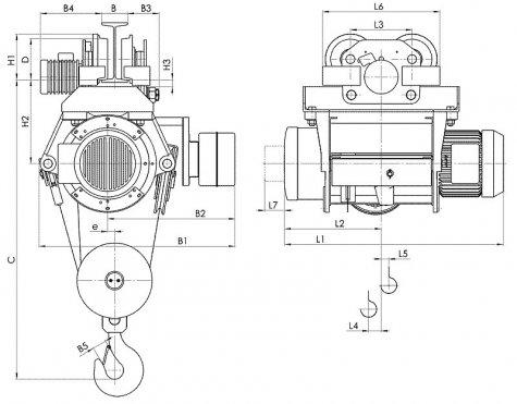 Таль электрическая передвижная типа Т39 грузоподъемностью 6,3 тонны