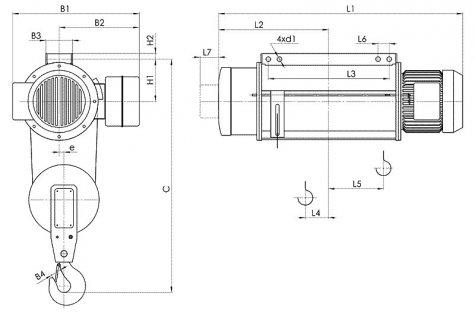 Таль электрическая стационарная типа Т02 (стационарная на пальцах) грузоподъёмностью 8 тонн