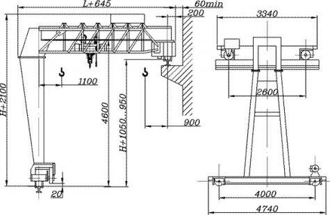 Краны полукозловые электрические общего назначения грузоподъёмностью 3,2т; 5т, управление с пола.