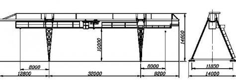 Кран козловой электрический общего назначения пролет 32 метра грузоподъёмностью 10 тонн (управление из подвижной кабины)
