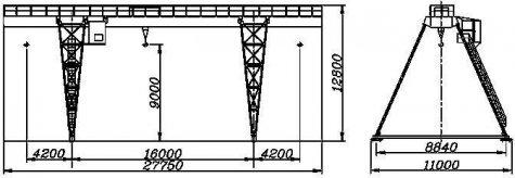 Кран козловой электрический общего назначения пролет 16 метров грузоподъёмностью 12,5 тонн (управление с пола)