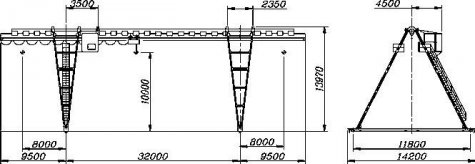 Кран козловой электрический общего назначения пролет 32 метра грузоподъёмностью 10 тонн (управление из кабины)