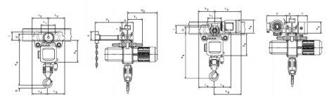 Таль электрическая цепная передвижная с крантележкой CPE, CPEF 2-3 т