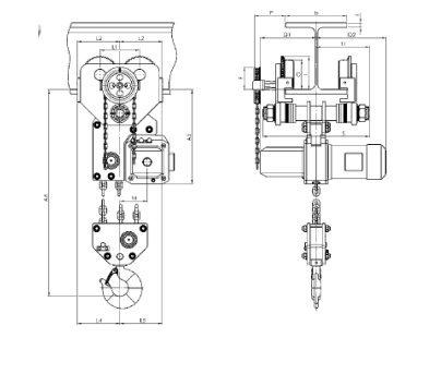 Таль электрическая цепная передвижная с крантележкой 7,5т.