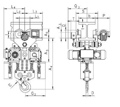 Таль электрическая цепная передвижная с крантележкой CPE, CPEF 10т.